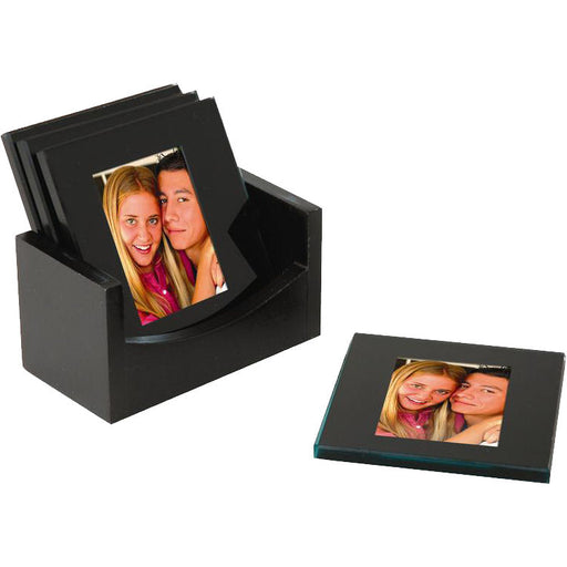 Glass Photo Coasters - Black (Set of 4)
