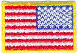 "Mini American Flag Patch -  1-1/2"" x 1"" w/Gold Border - Right Side"