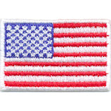 "Mini American Flag Patch - 1-1/2"" x 1"" w/White Border - Left Side"