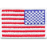 "Mini American Flag Patch - 1-1/2"" x 1"" w/White Border - Right Side"