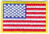 "Mini American Flag Patch -  1-1/2"" x 1"" w/Gold Border - Left Side"