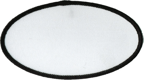 "Oval Blank Patch 2-1/2"" x 4-1/2"" White Patch w/Black"