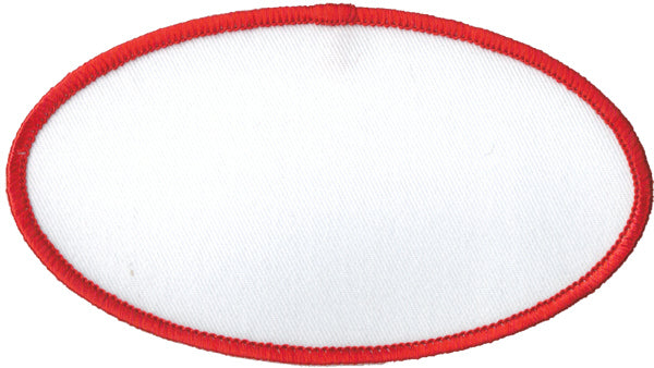 "Oval Blank Patch 2-1/2"" x 4-1/2"" White Patch w/Red"