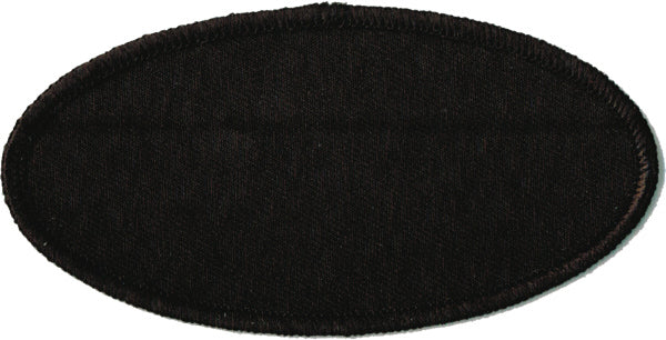 "Oval Blank Patch 2"" x 4"" Black Background with Black Border"