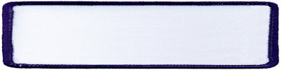 "Rectangle Blank Patch 1"" x 4"" White Patch w/Navy"