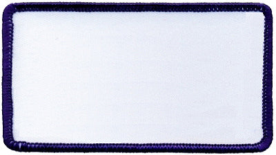 "Rectangle Blank Patch 2-1/2"" x 4-1/2"" White Patch w/Navy"