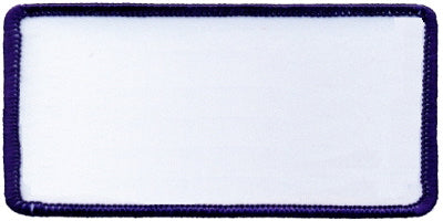 "Rectangle Blank Patch 2"" x 4"" White Patch w/Navy"