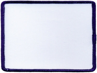 "Rectangle Blank Patch 3"" x 4"" White Patch w/Navy"