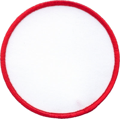 "Round Blank Patch 4"" White Patch w/Red"