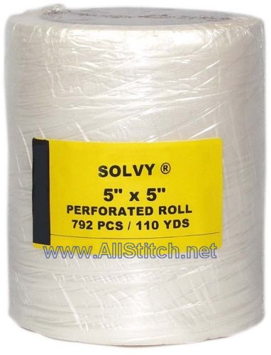 "Solvy Embroidery Topping 5"" x 5""  Perforated Roll - 110 yds"