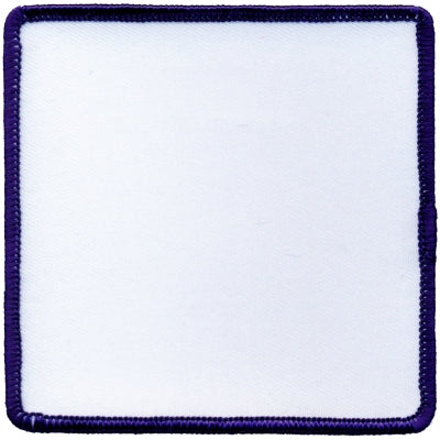 "Square Blank Patch 3-1/2"" x 3-1/2"" White Patch w/Navy"