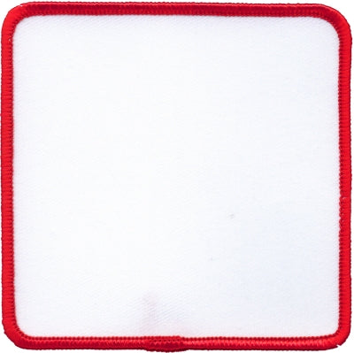 "Square Blank Patch 2-1/2"" x 2-1/2"" White Patch w/Red"