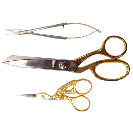 3 Pc Gold Scissor Set w/Display Box