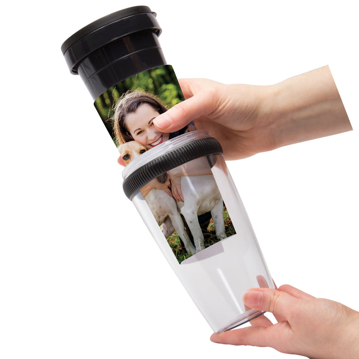 12oz Photo Insert Travel Tumbler w/Rubber Grip Ring