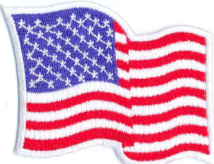"Embroidered American Flag Patch  3.5"" x 2.25"" Wavy w/White Border"