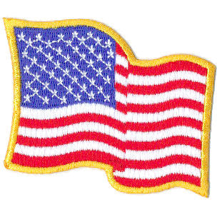 "Embroidered American Flag Patch  3.5"" x 2.25"" Wavy w/Gold Border"