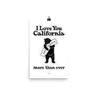 I Love You California (More Than Ever) Poster, White
