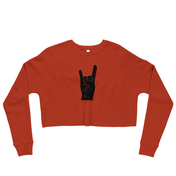 Hand Signals: Sign of the Horns Cropped Sweatshirt (6 colors)