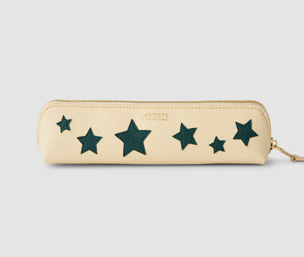 Pencil case - Beige with Bluegreen Stars