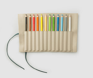 Pencil roll - Beige/Green inc 12 color pencils