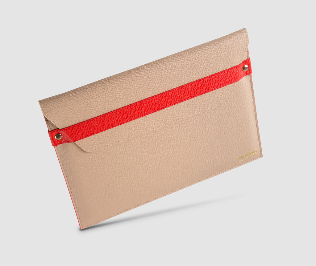 Laptop Case with strap - 13 inch Beige/Red