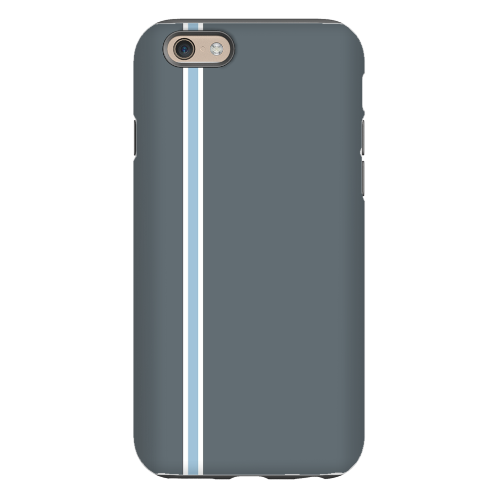 Racing Stripe Charcoal & Light Blue Phone Case