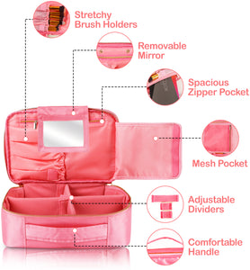 Travel Makeup Bag (Large, Pink)