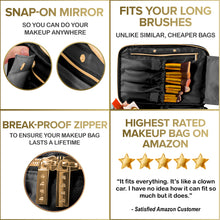 Load image into Gallery viewer, Travel Makeup Bag w/ Mirror