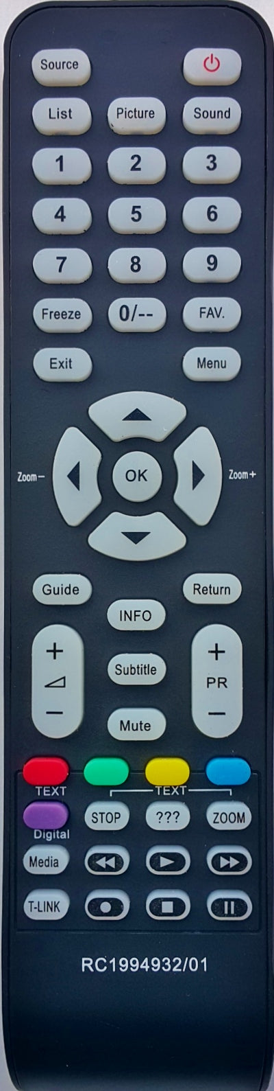 REPLACEMENT TCL REMOTE CONTROL RC1994932/01 -  L26M9HD L32M9HD L42M9FHD L32M11HD L40M11FHD L19M19  L22M19 L32M19  L32P10FHD L32P10R L42P10FZ  L55P10FHD  L32P11FZE  L40P11FZE  L46P11FZE  L55P11FZ