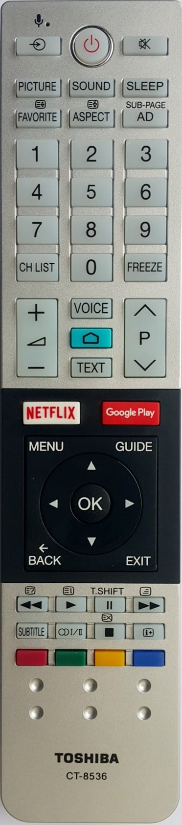 ORIGINAL TOSHIBA REMOTE CONTROL CT-8536 CT8536 - 65U9850AZ  U9850*SERIES ULTRA-HD ANDROID TV - Remote Control Warehouse