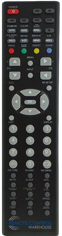 NU-TEC NUE1992 DVD COMBO TV REPLACEMENT REMOTE CONTROL