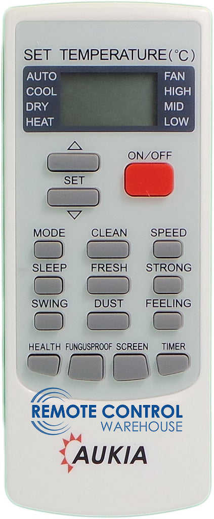 REPLACEMENT AUKIA AIR CONDITIONER REMOTE CONTROL YK(R)-C/01E - Remote Control Warehouse