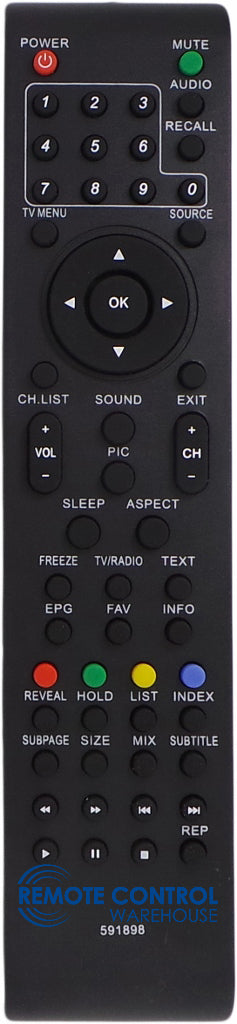 REPLACEMENT TEAC REMOTE CONTROL C2601110 -  LCDV2650SD LCD TV - Remote Control Warehouse