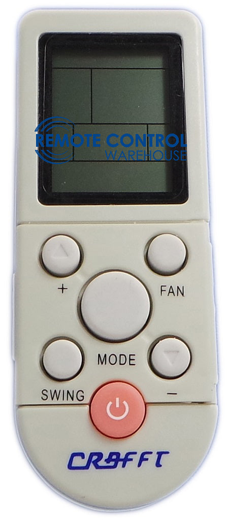 Original CRAFFT Air Conditioner Remote Control - YKR-/F002  YKR/F002 - Remote Control Warehouse