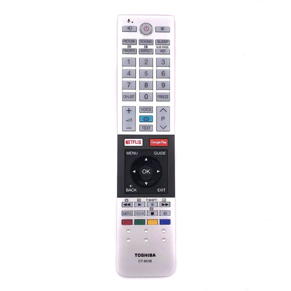 ORIGINAL TOSHIBA REMOTE CONTROL REPLACE CT-8516 CT8516  CT-8520 CT8520 - 75U7750A  75U775* SERIES,  65U7750A *SERIES  65U7750A  *SERIES  Ultra-HD Android TV