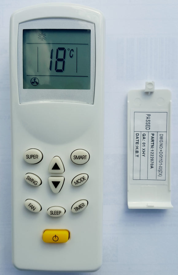 BLUEWAY AIR CONDITIONER REMOTE CONTROL DG11D1/02 - AS-09HR4F,  AS09HR4F