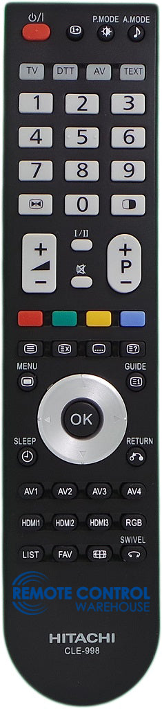 HITACHI REMOTE CONTROL CLE-998 Replace CLE980- 32PD960DTA 42PD960DTA 50PD960DTA - Remote Control Warehouse