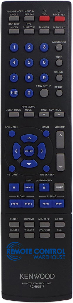 Original KENWOOD Remote RC-R0517 RCR0517 - KRF-V5200D KRF-V6300D A/V Receiver - Remote Control Warehouse