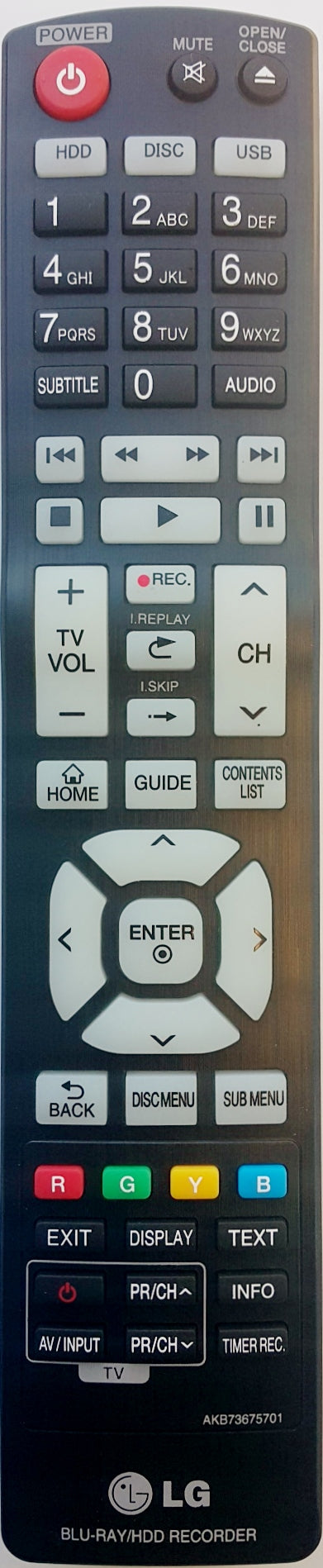 ORIGINAL LG REMOTE CONTROL AKB73675701 -  BR625T  BR629T   Blu-Ray Disc Recorder