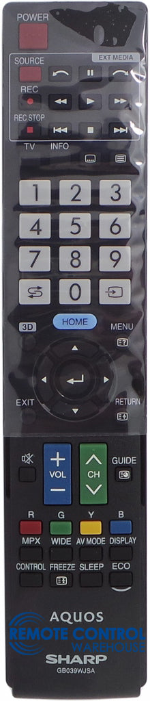 ORIGINAL SHARP REMOTE CONTROL SHARP REMOTE CONTROL GB039WJSA - LC60LE640X, LC60LE940X, LC80LE940X T V