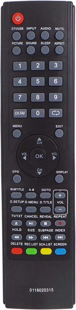 REPLACEMENT TEAC Remote 0118020315 - LEDV26U83HDR LEDV29G72HD LEDV32U83HD - Remote Control Warehouse