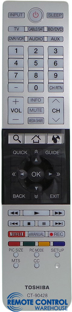 ORIGINAL TOSHIBA REMOTE CONTROL CT-90428 CT90428 - 65L9400UC  58L8400UC  Ultra High Definition 4K TV