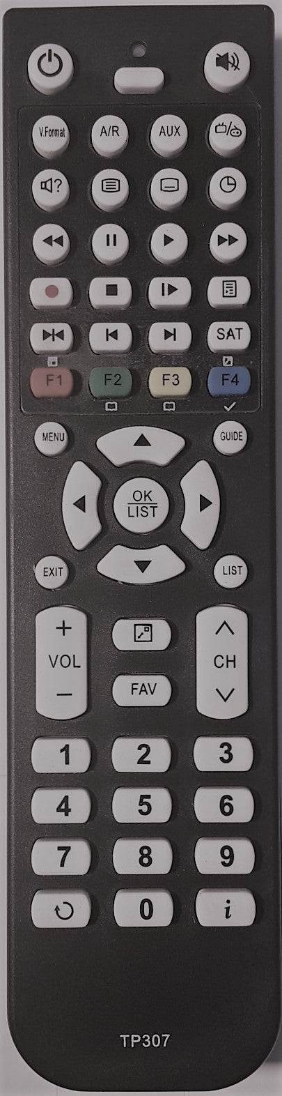 REPLACEMENT TOPFIELD REMOTE CONTROL TP307 -  TRF7160,  TF7100HDPVRT PLUS,  TF7100HDPLUS,  TRF7170, TRF-7260 PLUS, TPR5000, DVR PVR RECORDER - Remote Control Warehouse