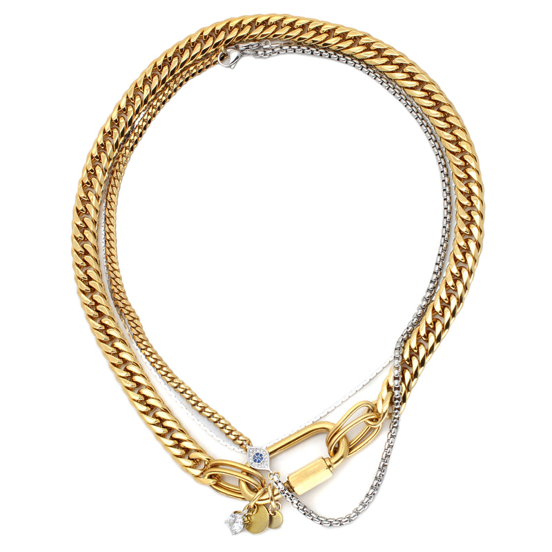 Maya Necklaces which comes with 18k Gold plated Stainless steel chain 3  Layered chain set with one thin gold chain, half gold and half silver chain with Zirconia evil eye and a thicker gold chain with oval lock.