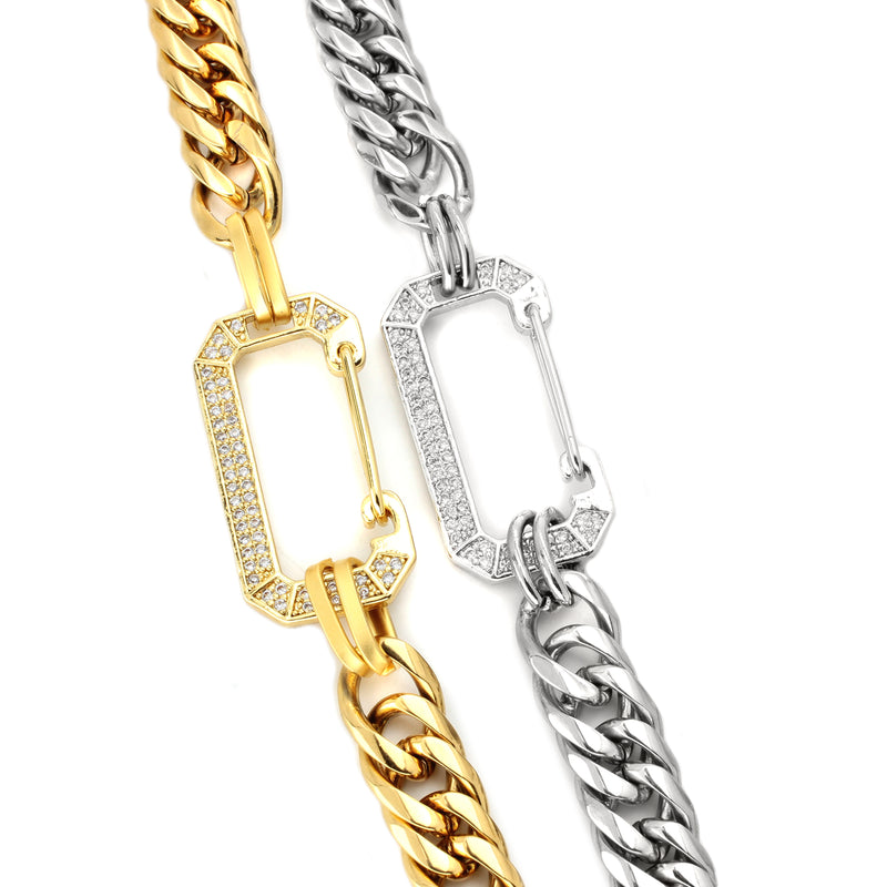 2 diamond studded locks connecting the two ends of the Celia Gold and Silver necklaces.