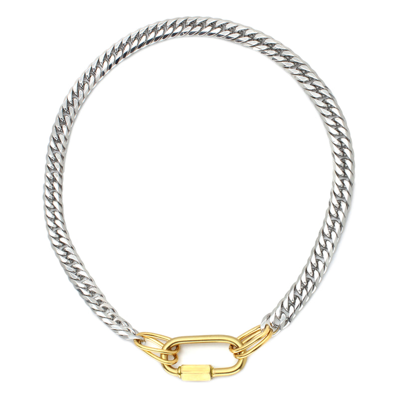 Anna silver chain necklace with big gold oval clasp.