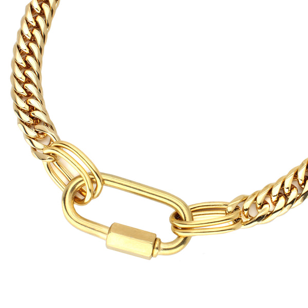 Anna gold chain necklace with big oval clasp.