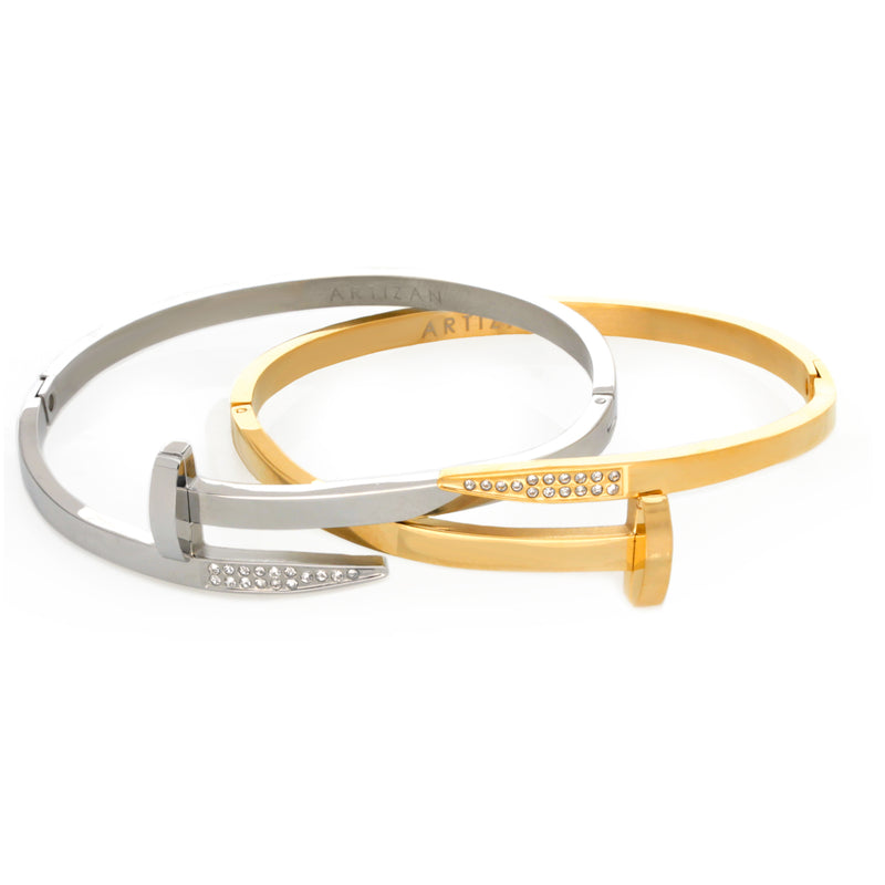 Two Clavo Shini bangles, comes in Gold and Silver  color. The design is similar to a nail with sparkling stones in one end and flat surface on the other.