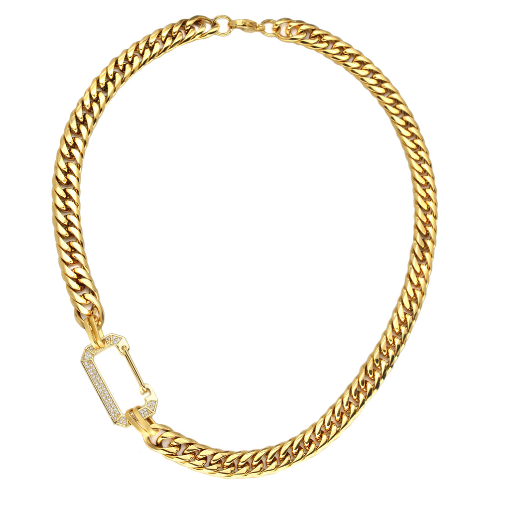 Celia Gold Necklace which is a gold  17 inch long chain with a rectangular diamond studded charm connecting the chain in the middle.