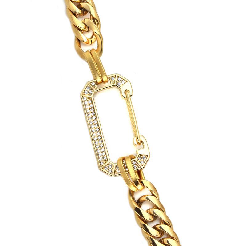 Diamond studded lock connecting the two ends of the Celia Gold necklace.